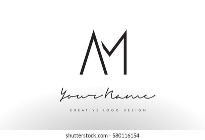 AM Letters Logo Design Slim. Simple and Creative Black Letter Concept Illustration.