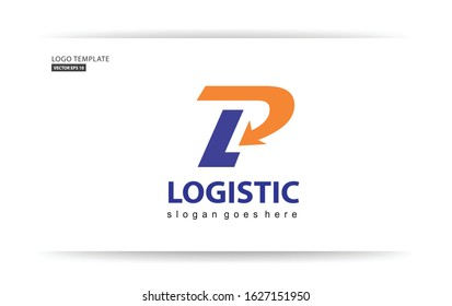 letters logo P, L  and arrow icon. fast shipping philosophy, for the shipping service company logo, dll