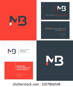 Letters M B, M & B joint logo icon with business card vector template.