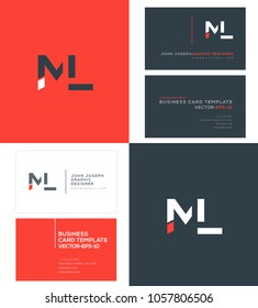 Letters M L, M & L joint logo icon with business card vector template.