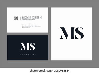 Letters M S, M & S joint logo icon with business card vector template.