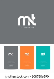 Letters M & T logo, icon with business card vector template.