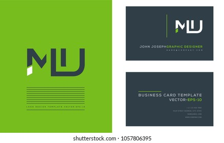 Letters M U, M & U joint logo icon with business card vector template.