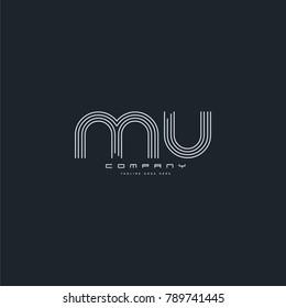 Letters M & U joint logo icon. Stroke letter vector element.