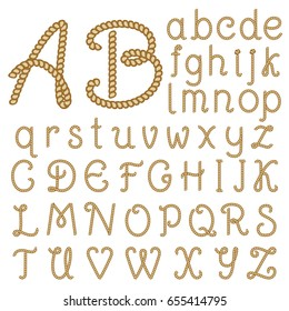Letters made from brown rope. Hand written font, alphabet. Vector illustration