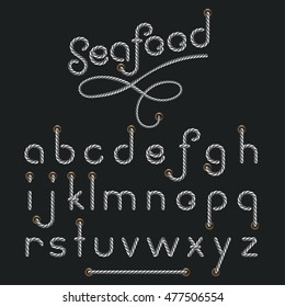 Letters made from nautical rope - hand written font, seafood, Vector illustration in flat, cartoon style isolated from the background, EPS 10