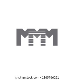 letters mmm stripes simple logo vector