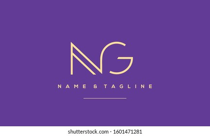 Letters monogram icon logo NG,GN,G and N