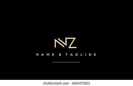 Letters monogram icon logo NZ,ZN,N and Z