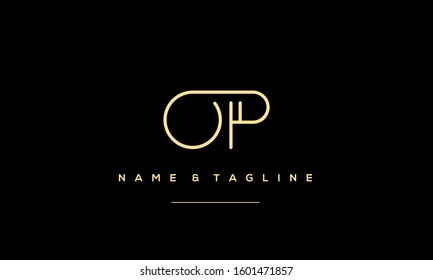 Letters monogram icon logo OP,PO,O and P