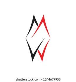 letters mw mirror design brand logo