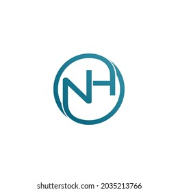 Letters N and H in a round circle. vector logo