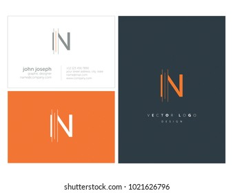 Letters I N, I & N joint logo icon with business card vector template.