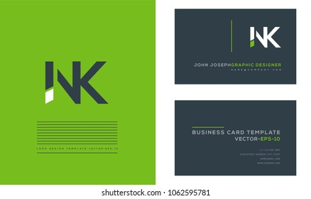 Letters N K, N & K joint logo icon with business card vector template.