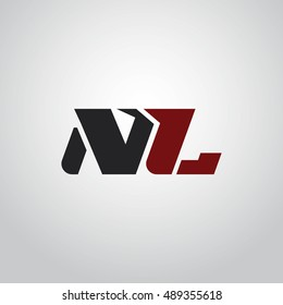 The letters N and L logo automotive black and red colored