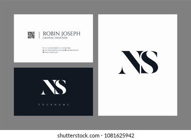 Letters N S, N & S joint logo icon with business card vector template.