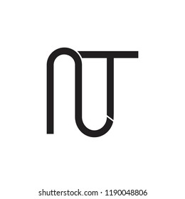 letters nt linked geometric logo vector