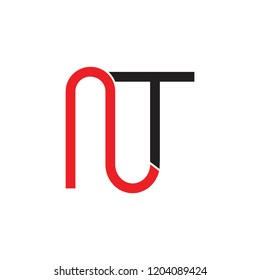 letters nt linked simple linear logo