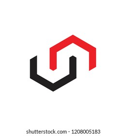 letters nu home shape abstract logo