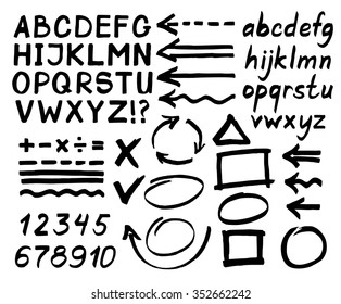 Letters, numbers, arrows, mathematical symbols, lines, written in black marker. Vector.