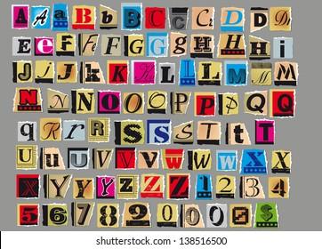 Imágenes, fotos de stock y vectores sobre Magazine Alphabet Collage