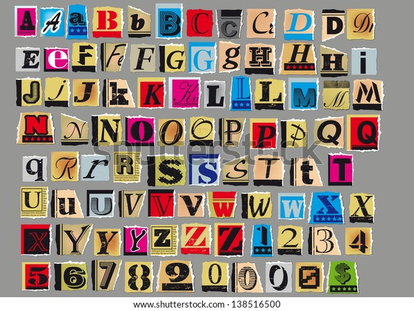 Letters Numbers Cut Out Old Magazines เวกเตอร์สต็อก (ปลอดค่า