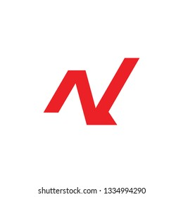 letters nv simple geometric line logo vector
