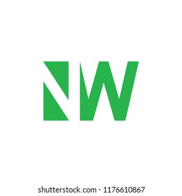 letters nw simple geometric logo vector