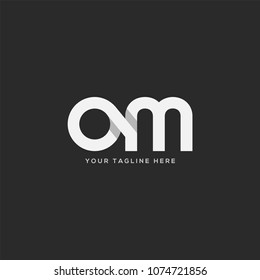 Letters O M, O & M Company logo icon in grey and white colour vector element.