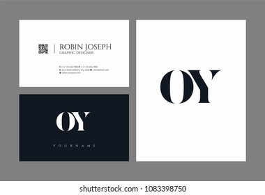 Letters O Y, O & Y joint logo icon with business card vector template.
