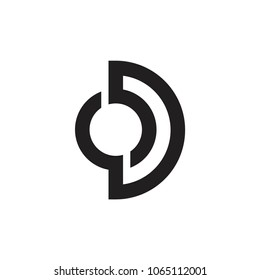 letters od lines art logo vector