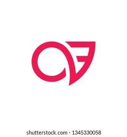 letters ov fast movement geometric line logo vector