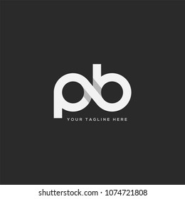 Letters P B, P & B Company logo icon in grey and white colour vector element.