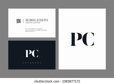Letters P C, P & C joint logo icon with business card vector template.