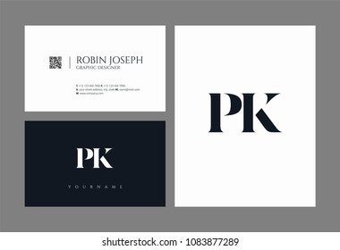 Letters P K, P & K joint logo icon with business card vector template.