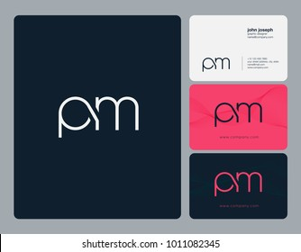 Letters P M, P & M joint logo icon with business card vector template.