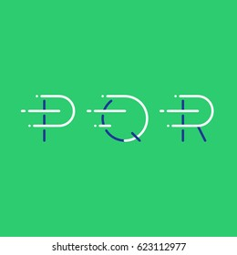 Letters P, Q, R in motion, fast services concept logo elements, delivery and transport icons, mono line vector