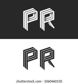 Letters P and R logo set isometric emblem symbol mockup, letters isometric monogram 3D geometric shape lines initial business card emblem