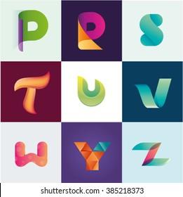 Letters P R S T U V W Y Z set of logo idea realistic