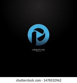 Letters p simple logo with elegant and luxurious circle shape.  suitable for the music industry logo and for the music app icon.