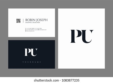 Letters P U, P & U joint logo icon with business card vector template.