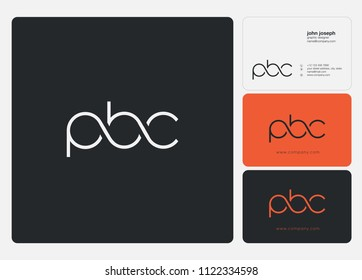 Letters PBC logo icon with business card vector template.