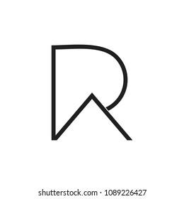 letters pr simple thin lines design logo vector