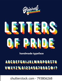 'Letters Of Pride' Six Colour Rainbow Typeface Intended To Celebrate Diversity. Retro 3D Alpahabet Designed for Striking Headlines and Statements. Vector Illustration.