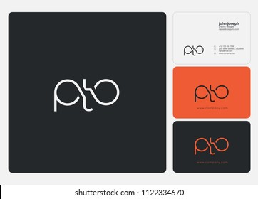 Letters PTO logo icon with business card vector template.