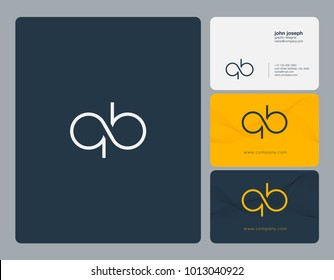 Letters Q B, Q & B joint logo icon with business card vector template.