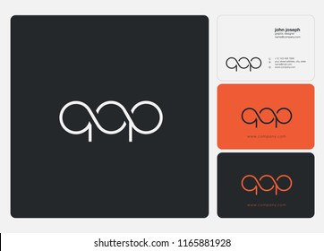 Letters Q O P Joint logo icon with business card vector template.