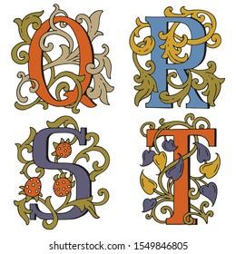 Letters Q, R, S, T. Drop Caps. Cartoon letters fabulous hand drawn. Fabulous ornamental capital letters. For fairy tale design