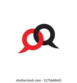 letters qq talk symbol logo vector