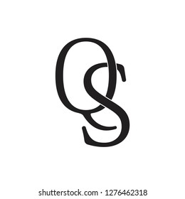 letters qs linked simple logo vector